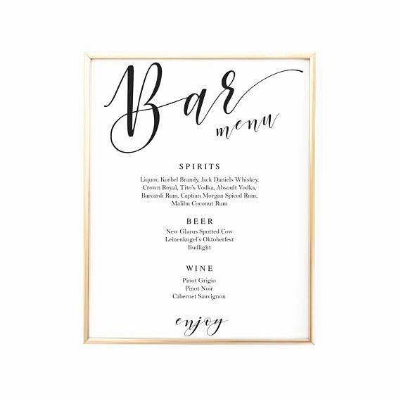 Script Bar Sign Template Wedding Bar Menu Signs Signature
