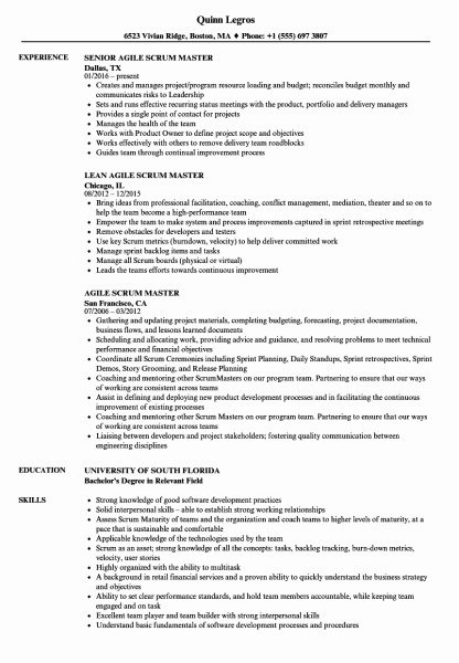 Scrum Master Resume Example Picture Best Construction