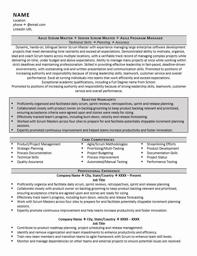 Scrum Master Resume Example Resume Sample