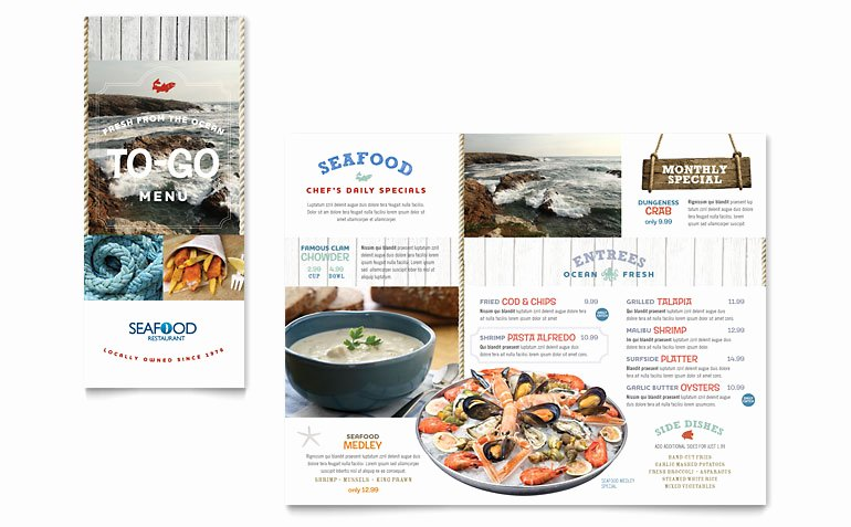 Seafood Restaurant Take Out Brochure Template Word