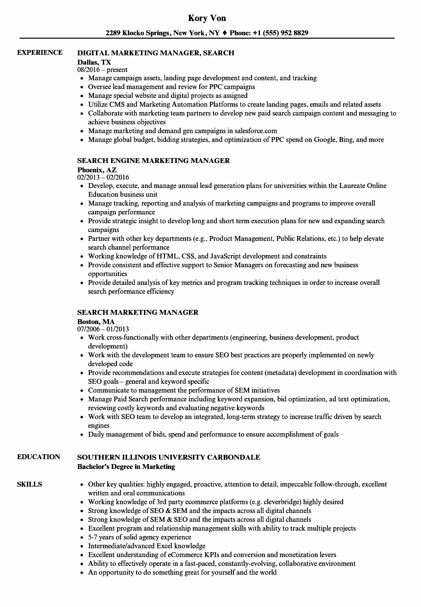 Search Marketing Manager Resume Samples