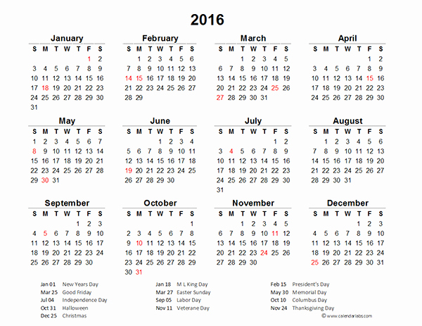 "Search Results for ""2016 Yearly Calendar with Holidays"