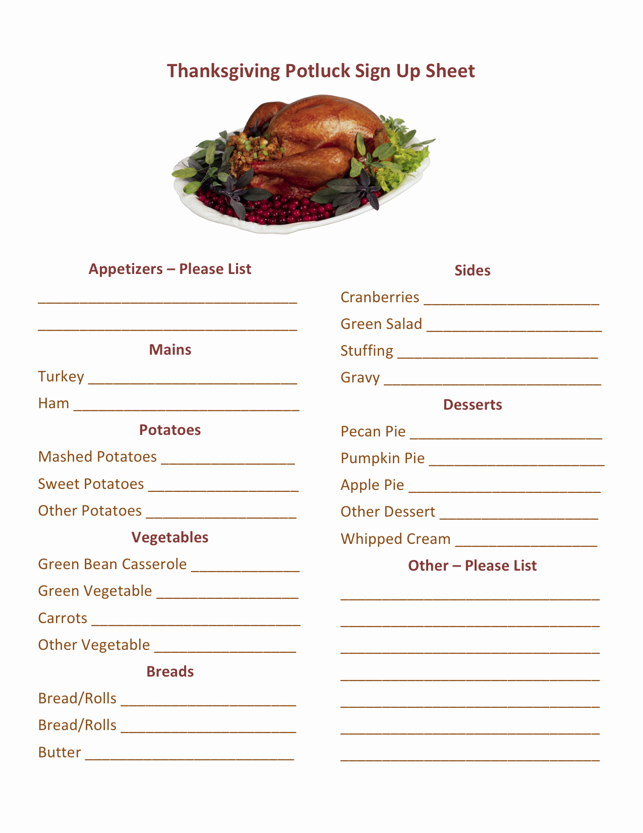 "Search Results for ""potluck Sign Up Sheet Template"