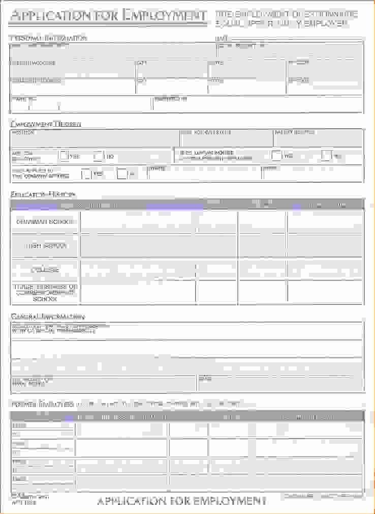 "Search Results for ""printable Blank Employment Application"