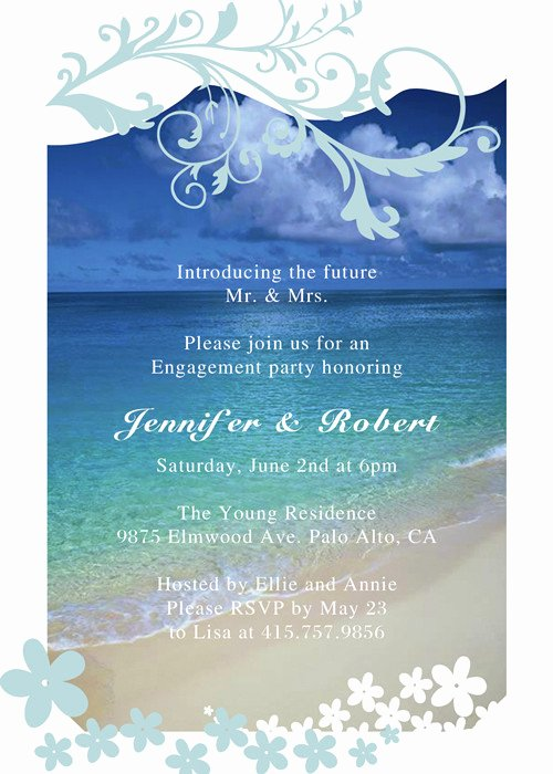 Seaside Blue Beach theme Engagement Party Invitation Cards
