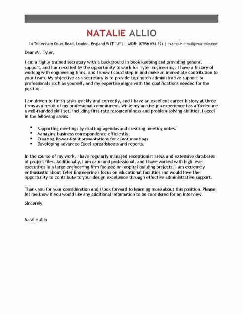 Secretary Cover Letter Template