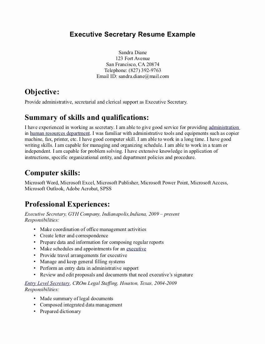 Secretary Resume Examples Site