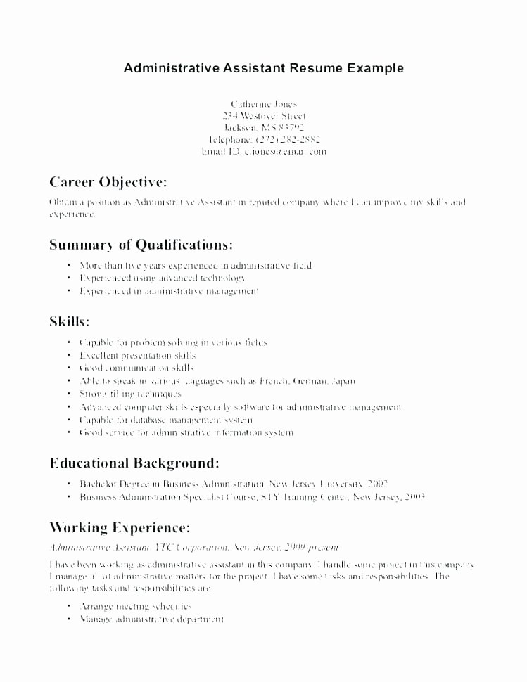 Secretary Resume Sample Elegant Administrative