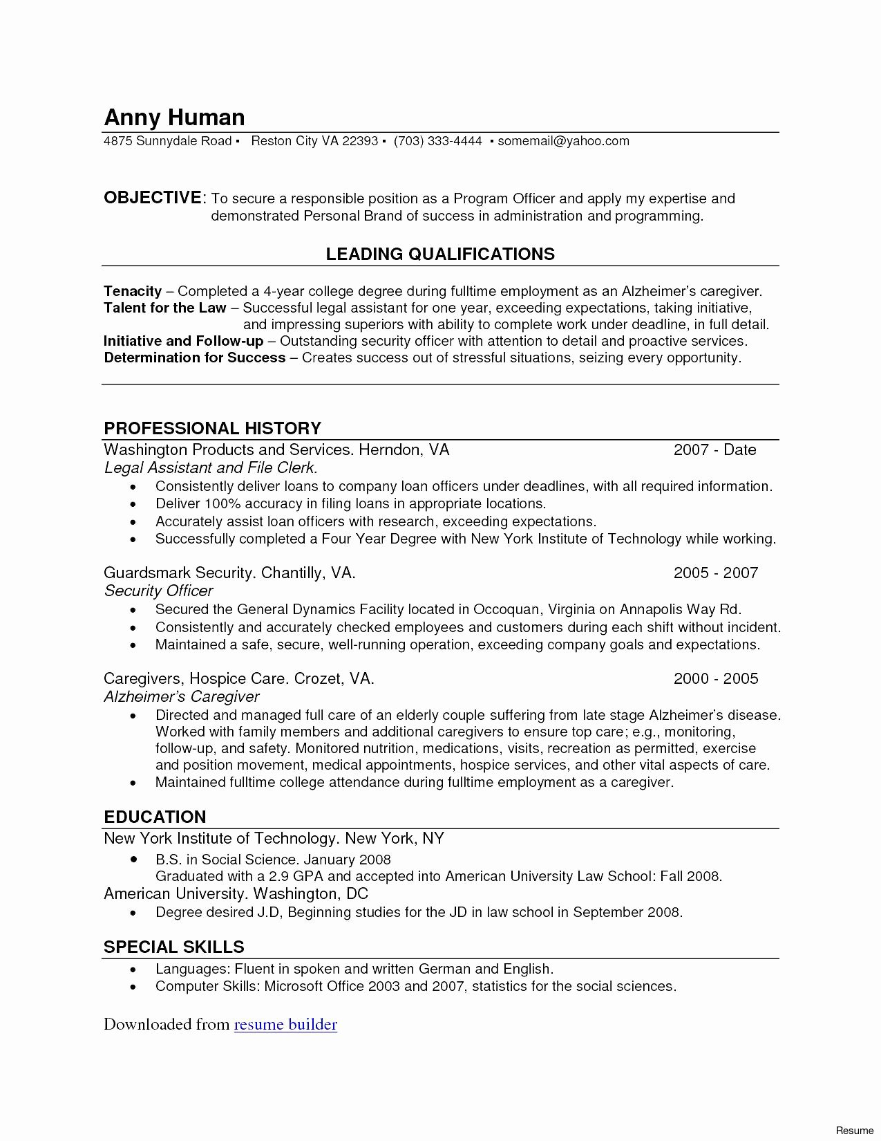 Security Ficer Resume Sample Objective Luxury Caregiver