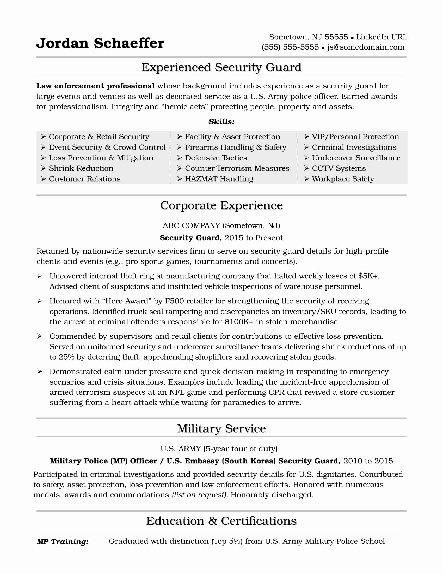 Security Ficer Resume Sample