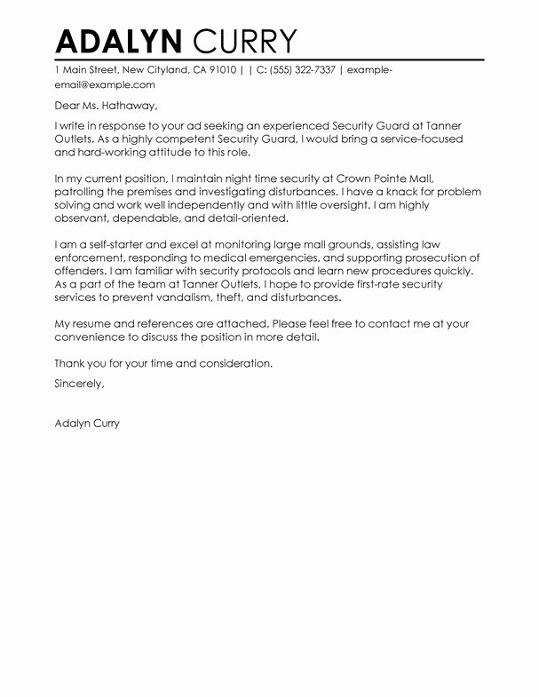 Professional Security Guard Cover Letter Sample & Writing – Latter ...