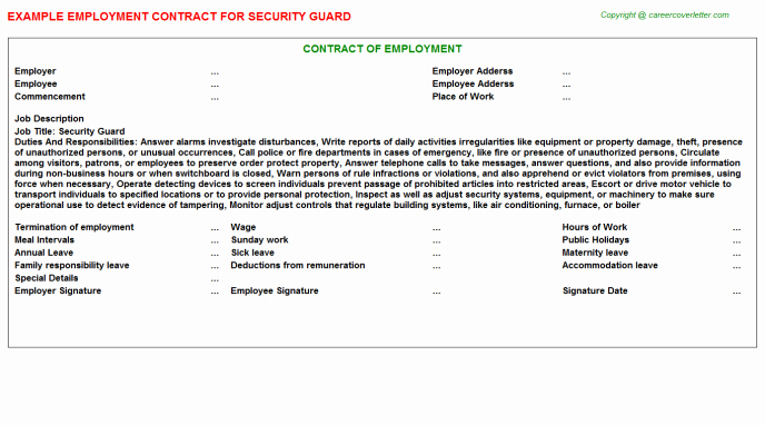 Security Guard Employment Contract