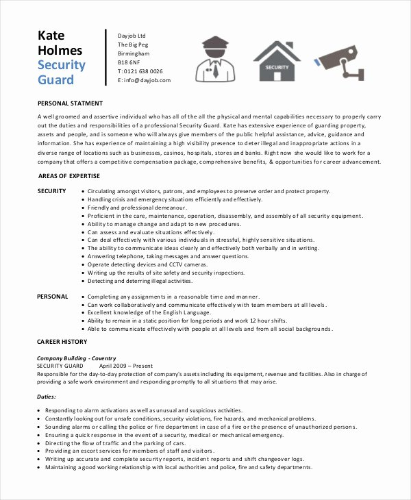 Security Guard Resume 5 Free Sample Example format