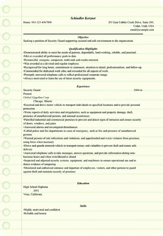 Security Guard Resume Example for Microsoft Word C
