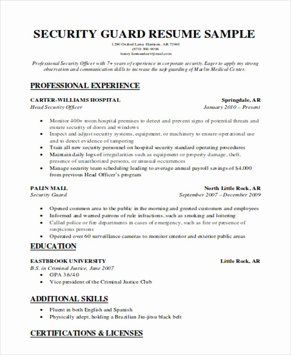 Security Guard Resume Example Oursearchworld