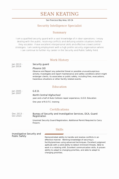 Security Guard Sample Resume