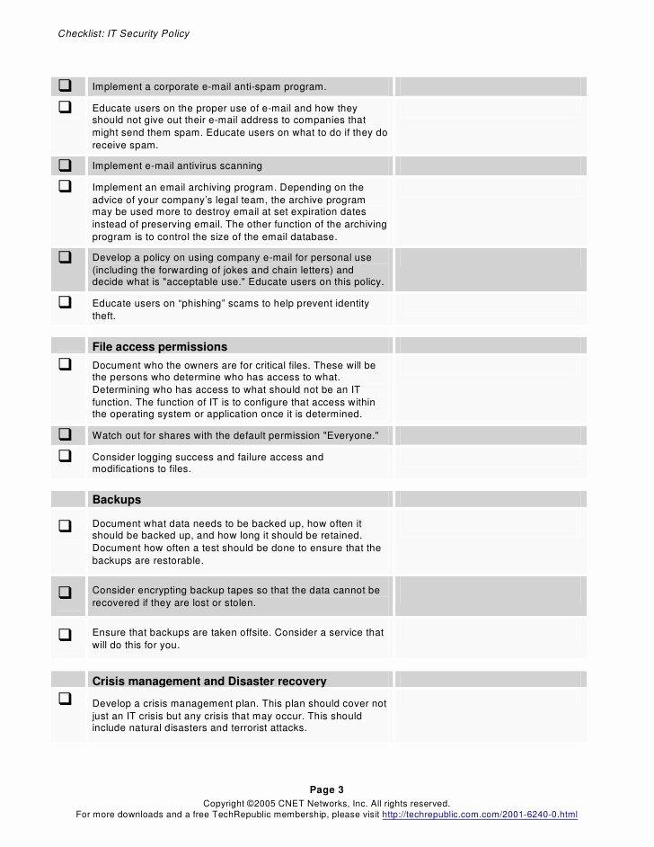 Security Policy Checklist