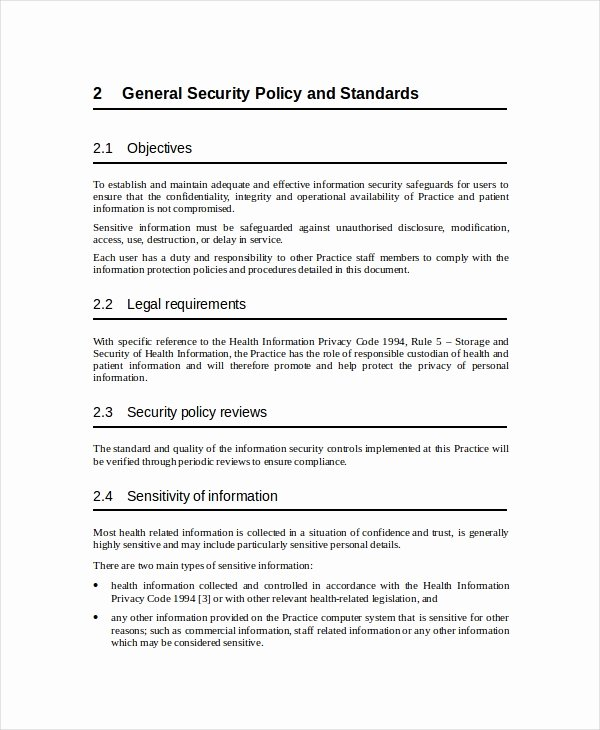 Security Policy Template 7 Free Word Pdf Document