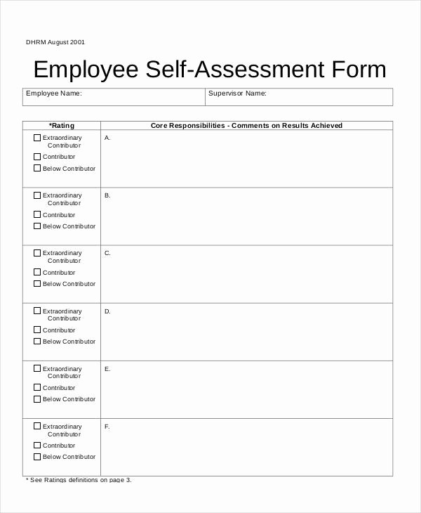 Self assessment form