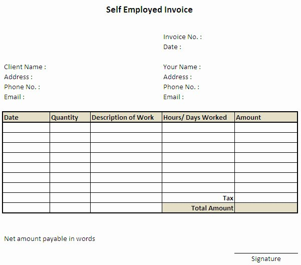 Self Employed Invoice Template Excel