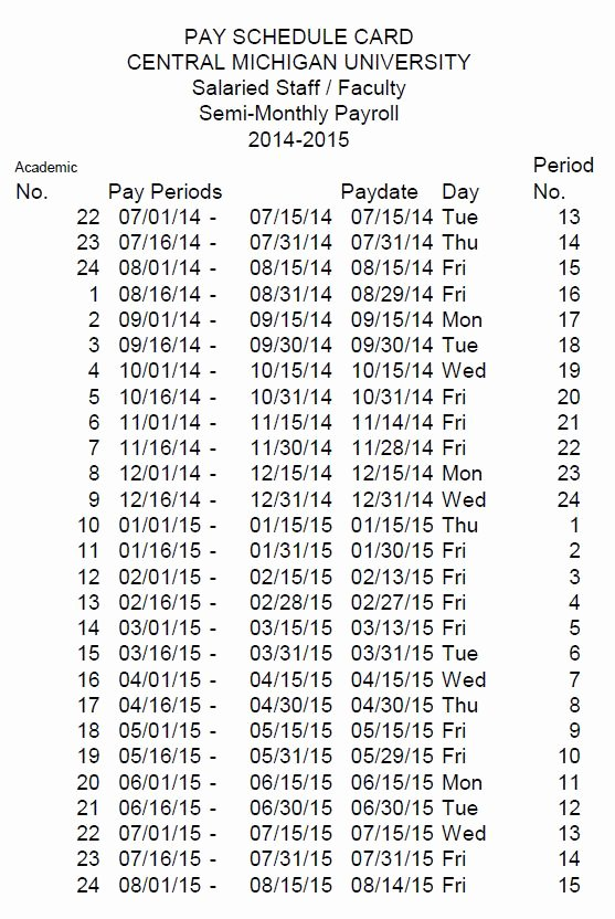 Semi Monthly Payroll Calendar 2016