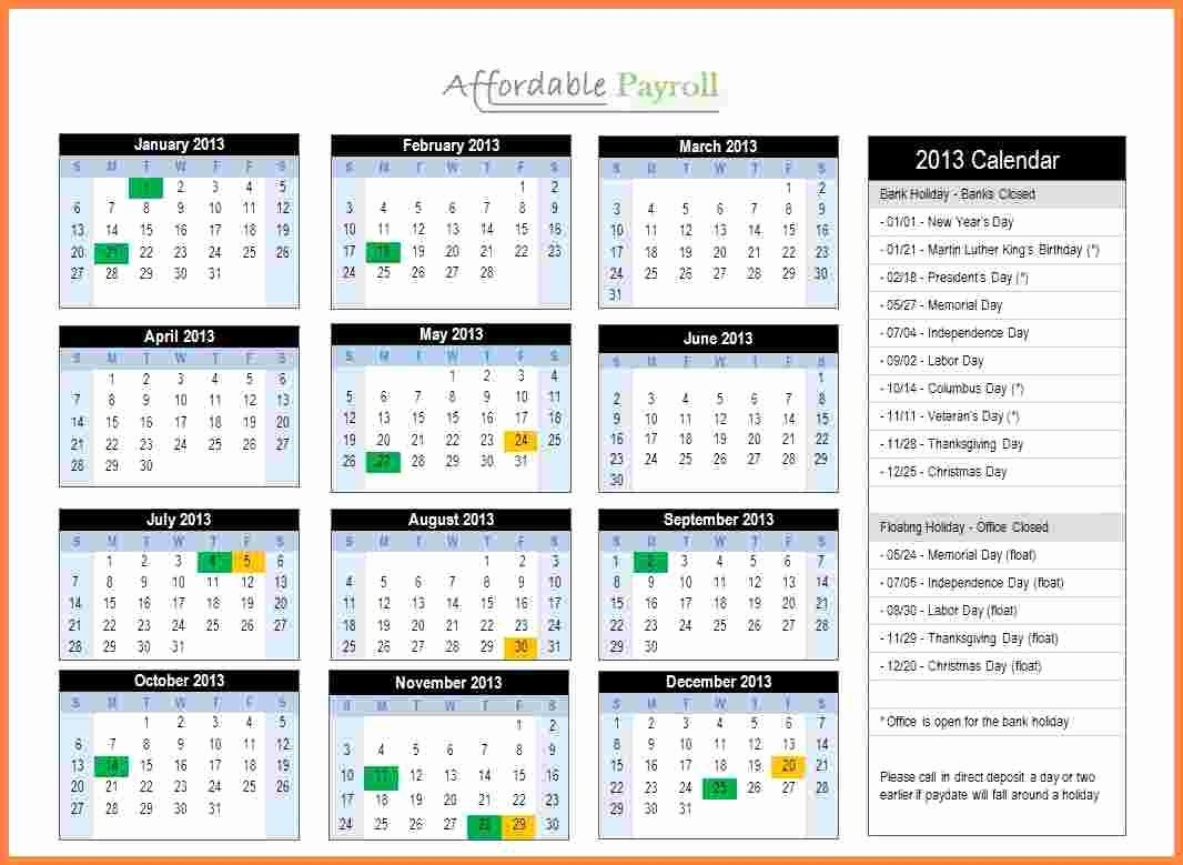 Semi Monthly Payroll Calendar 2018 Template Free