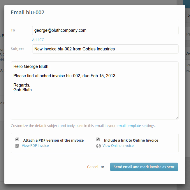 Sending Invoice Email Template