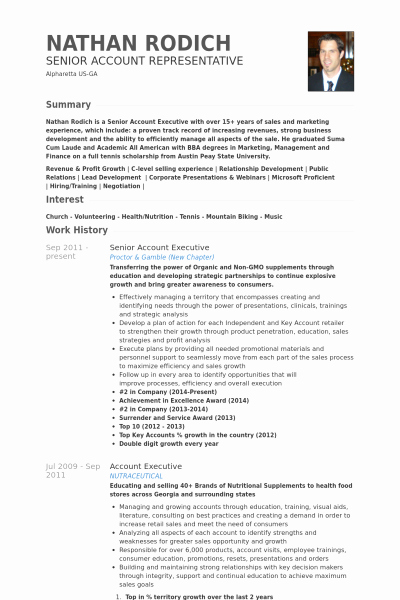 Senior Account Executive Resume Example