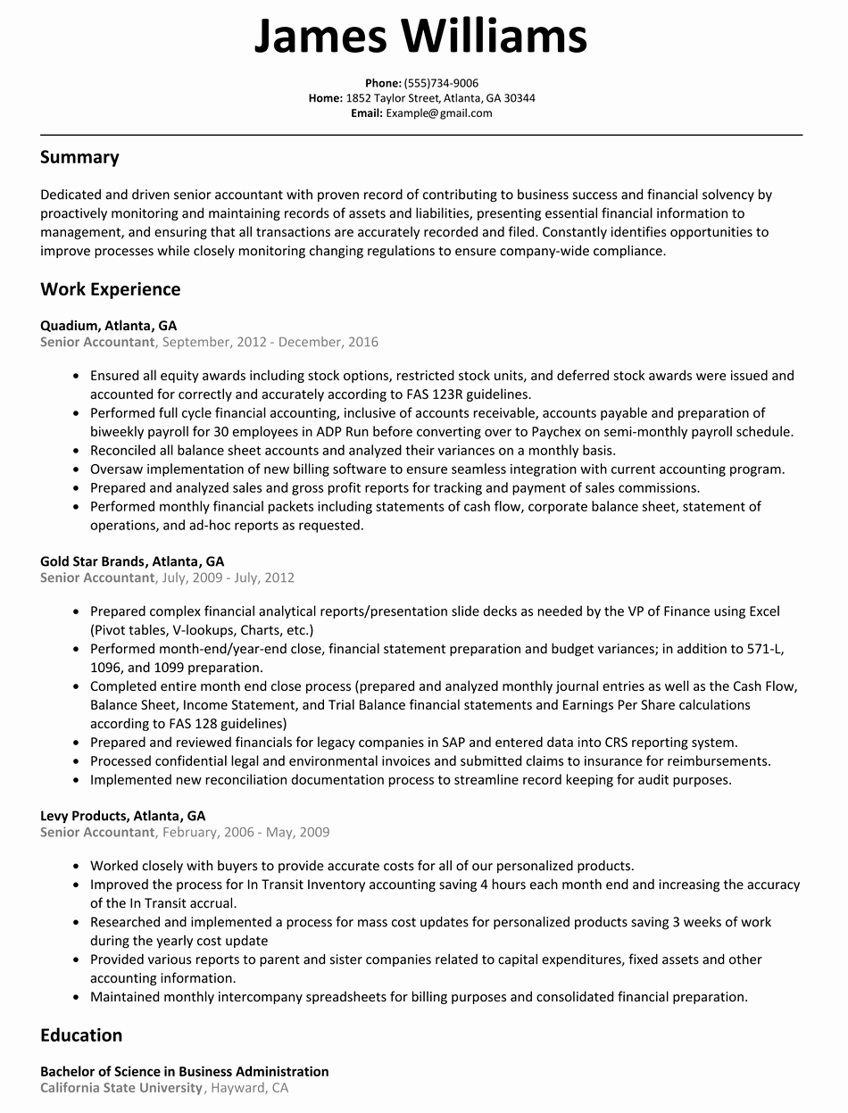 Senior Accountant Resume Sample Resumelift