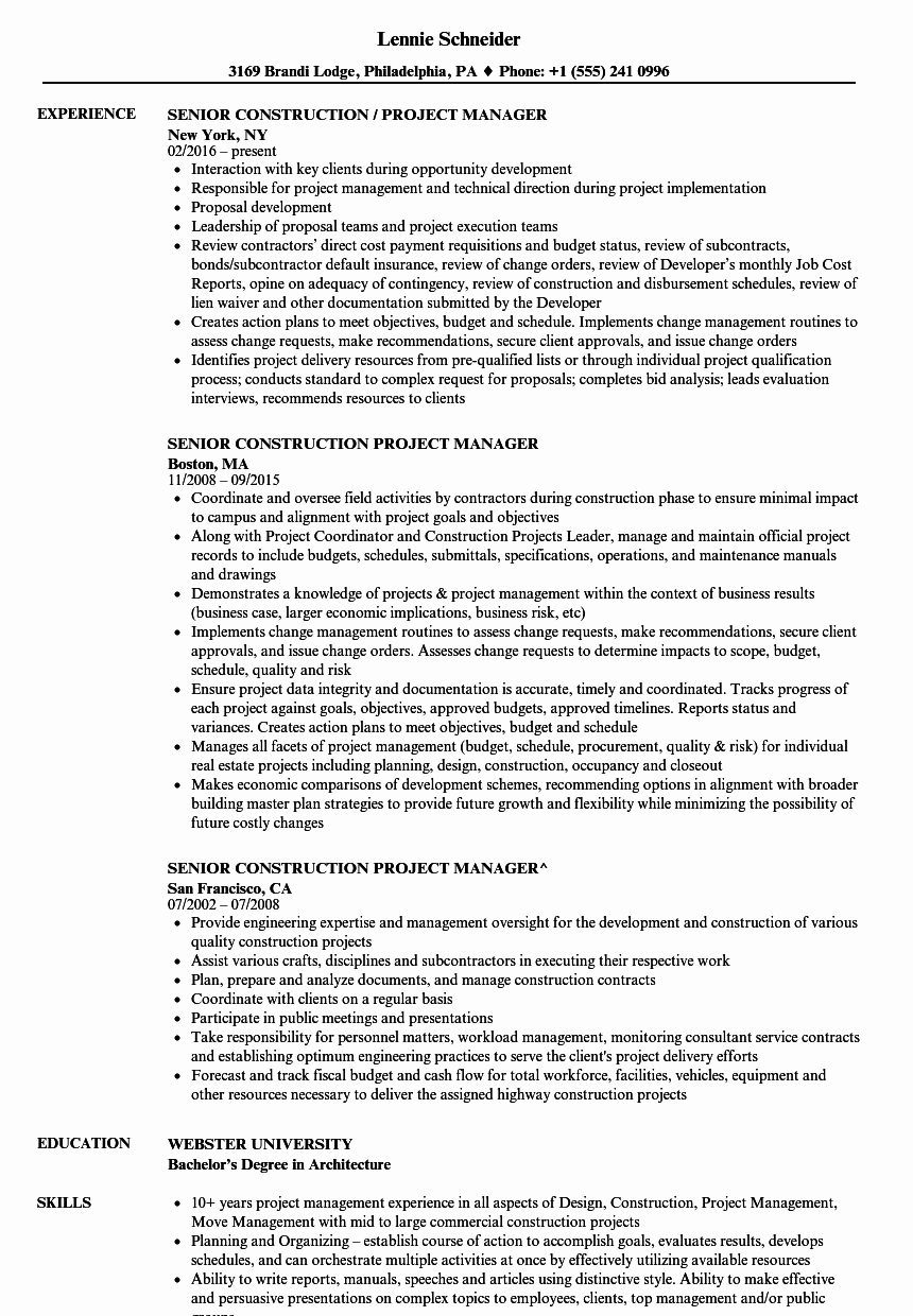 Senior Construction Project Manager Resume Samples