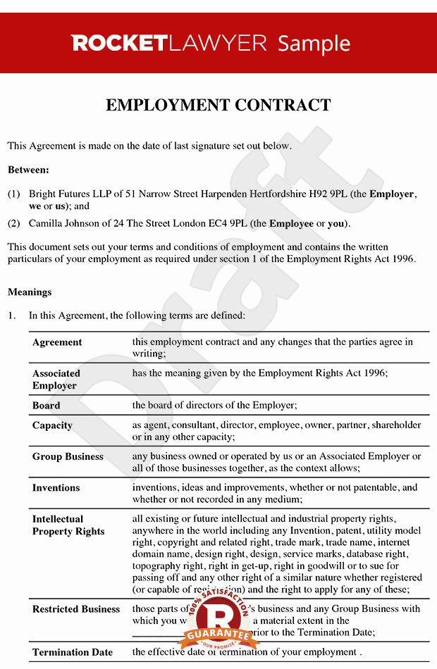 Senior Employment Contract Executive Employment Agreement