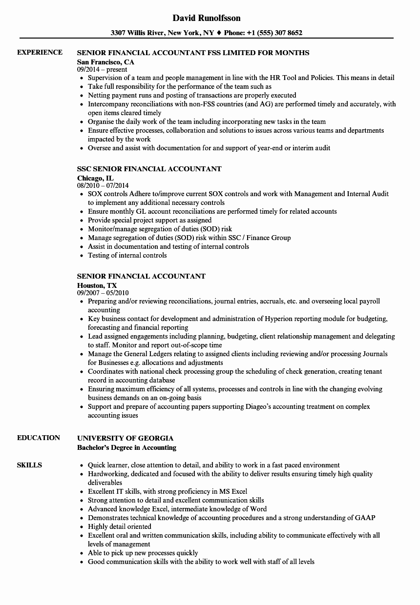 Senior Financial Accountant Resume Samples