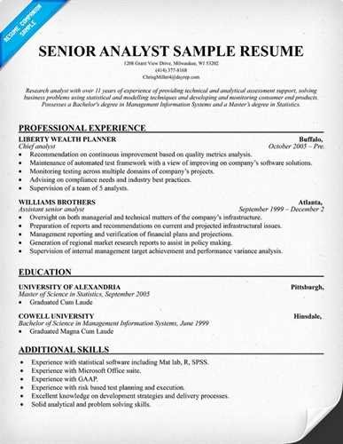 Senior Financial Analyst Resume Example Page 1