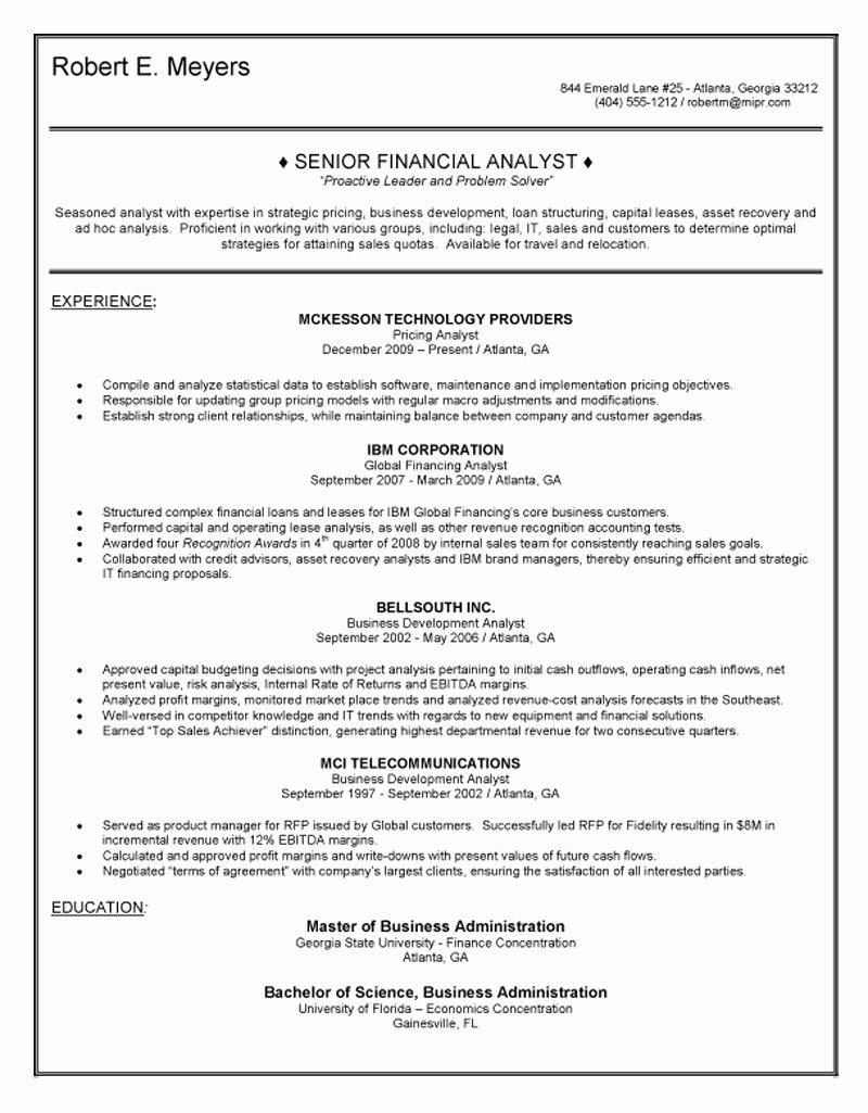 Senior Financial Analyst Resume