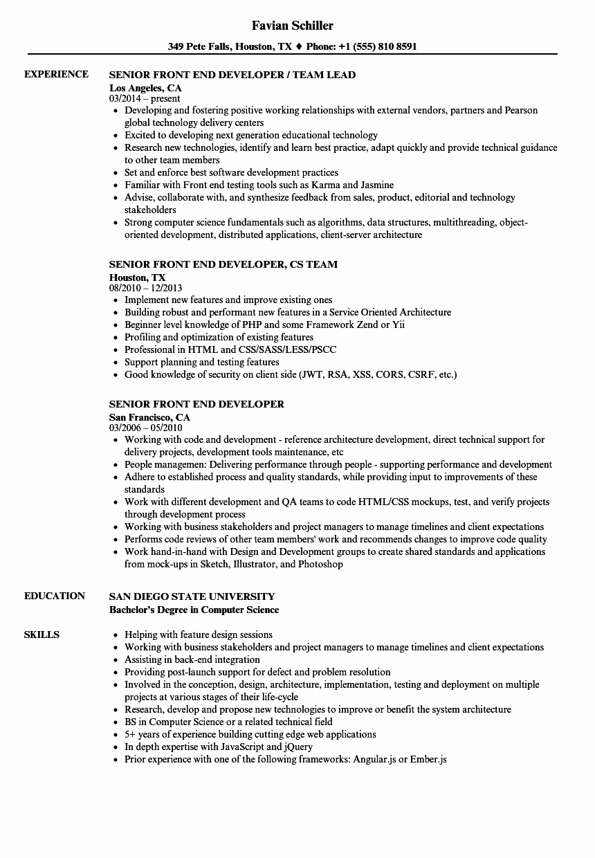 Senior Front End Developer Resume Samples