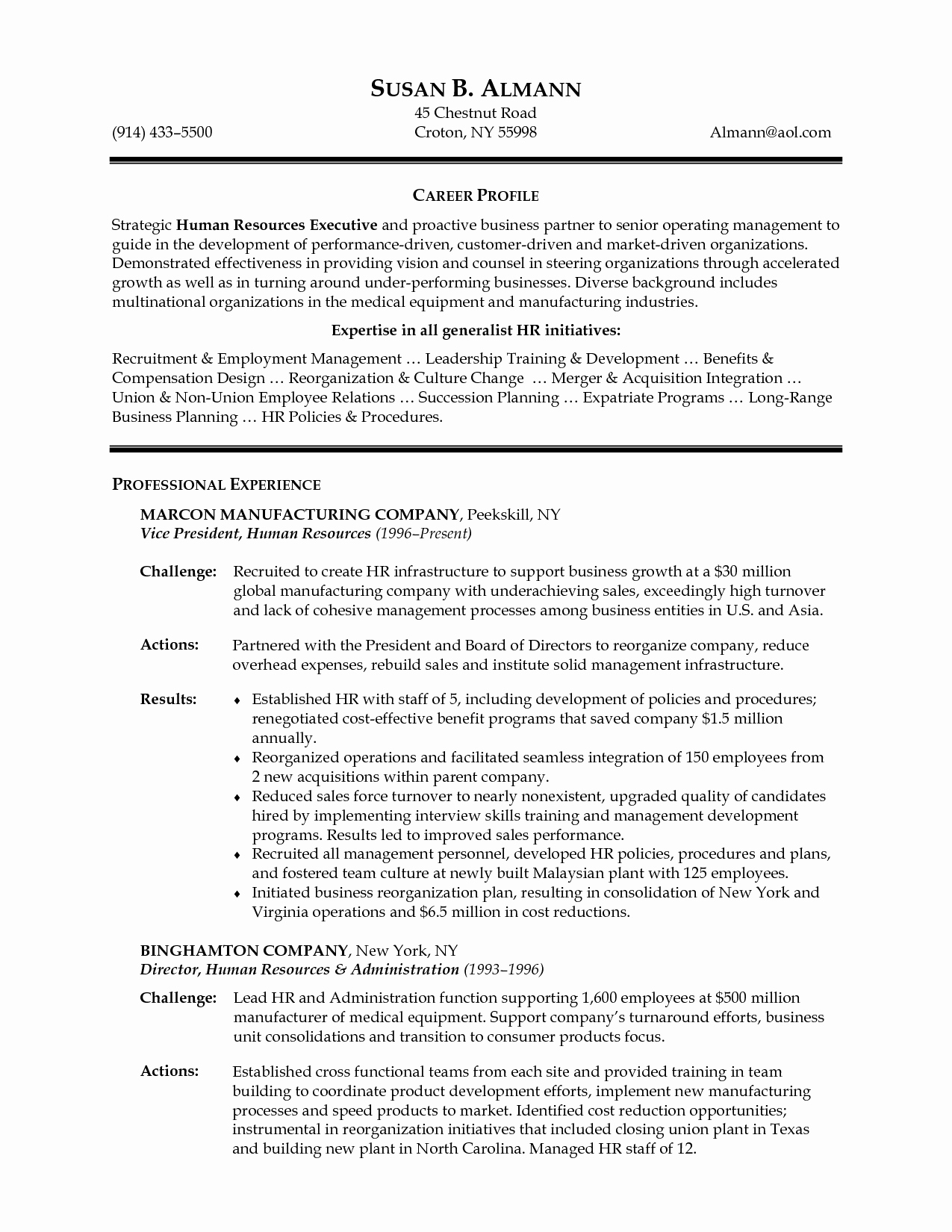Senior Hr Manager Resume Sample Resume Ideas