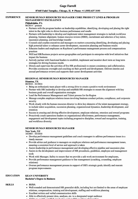 Senior Human Resources Manager Resume Samples