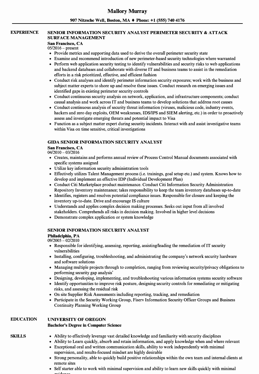 Senior Information Security Analyst Resume Samples