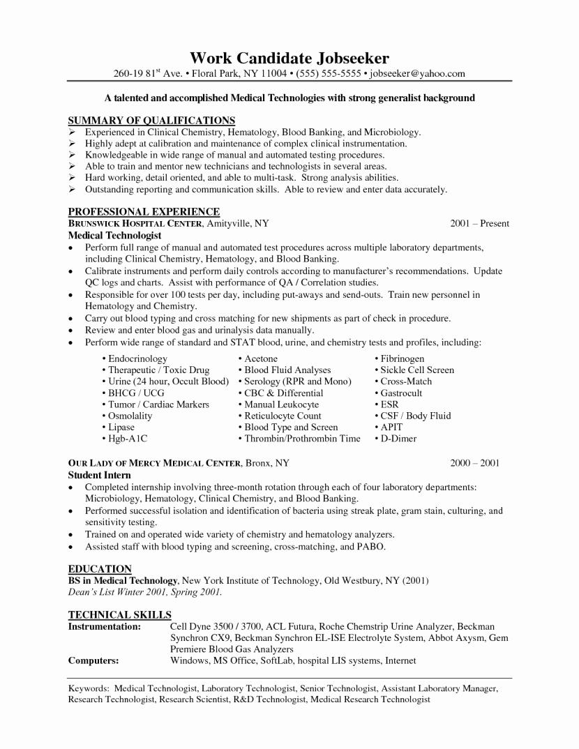 Senior Medical Laboratory Technologist Resume
