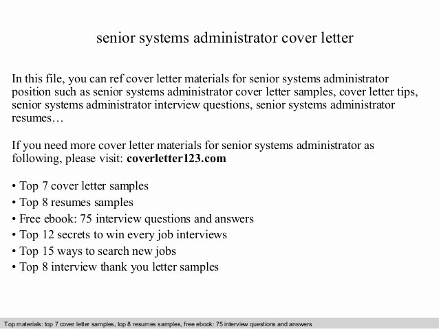 Senior Systems Administrator Cover Letter