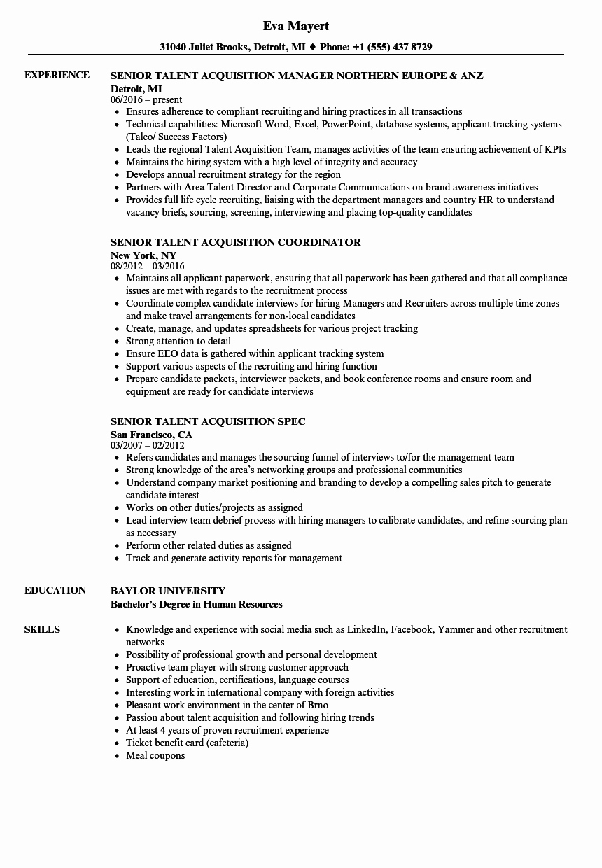 Senior Talent Acquisition Resume Samples
