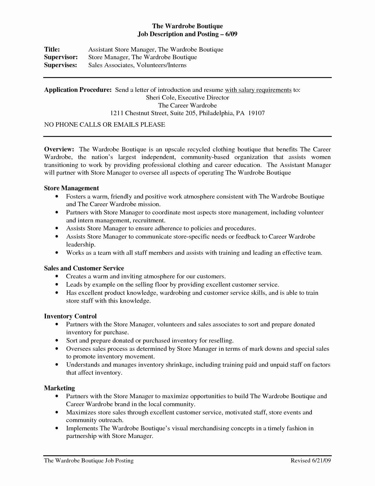 Sensational Manager Job Description for Resume Templates