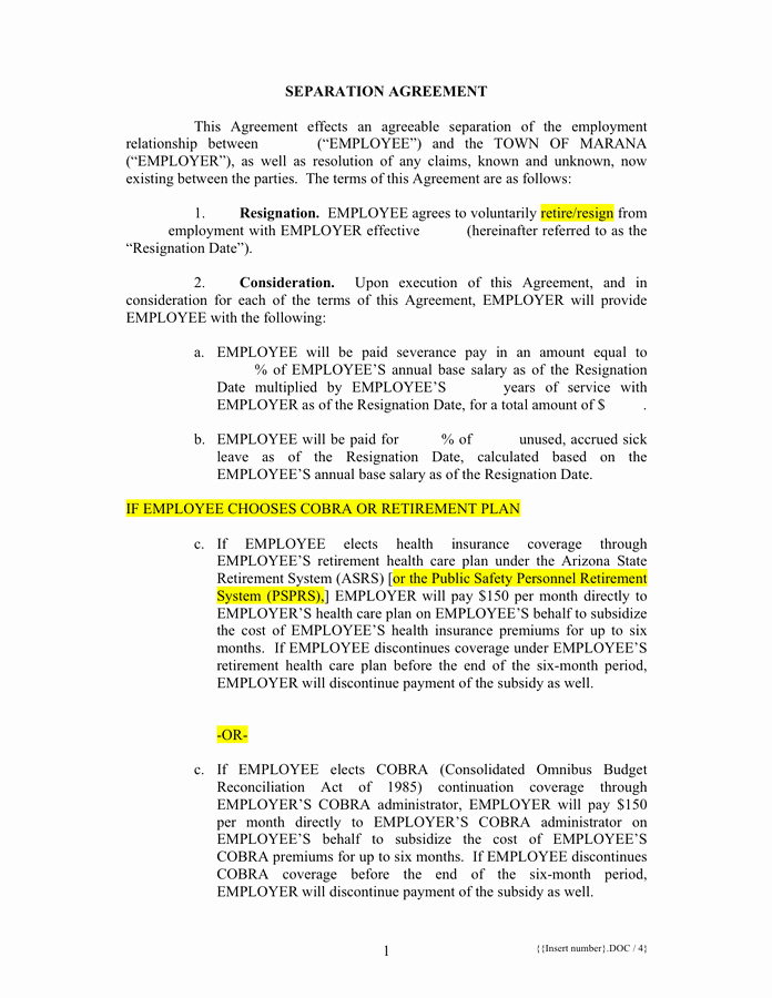 Separation Agreement Template In Word and Pdf formats
