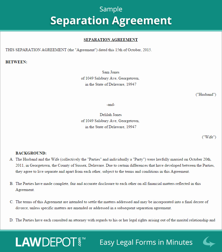 Separation Agreement Template Us Lawdepot