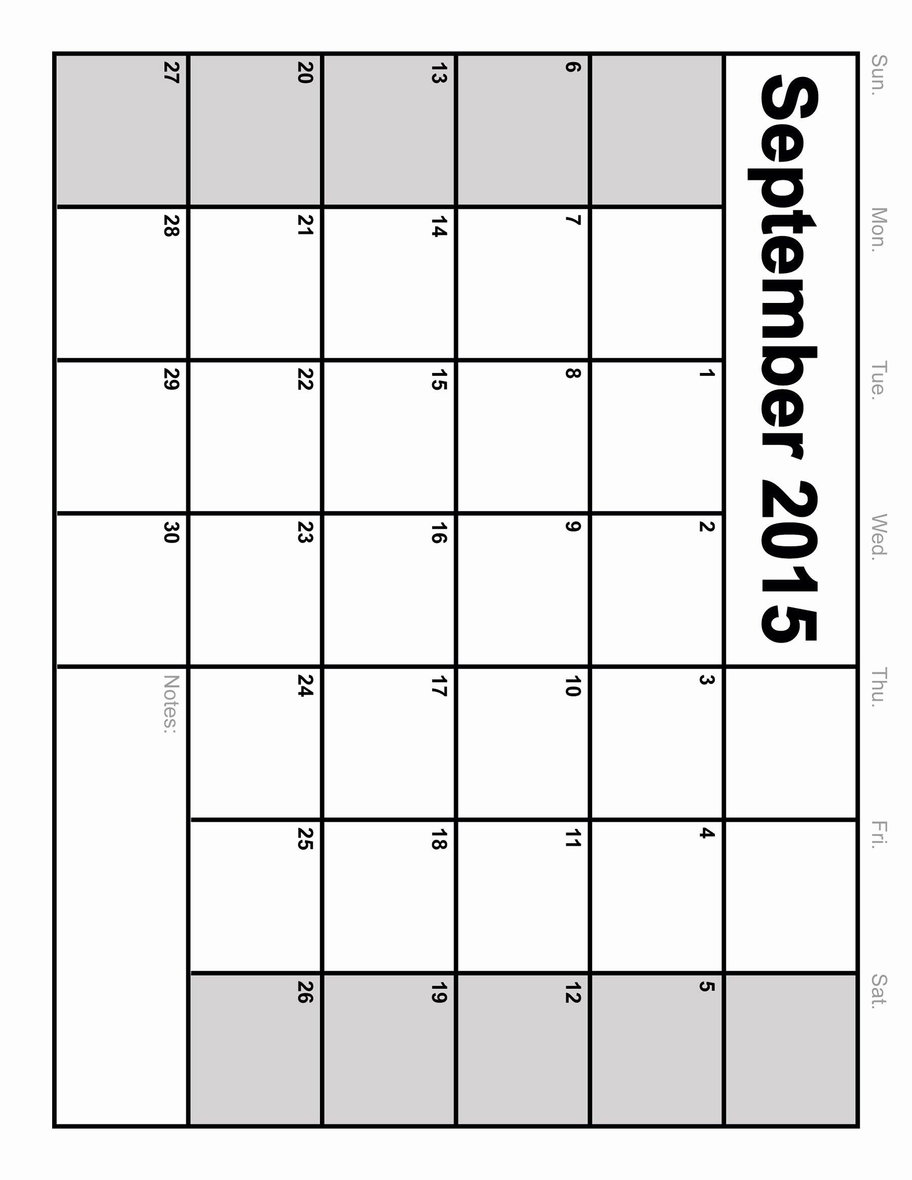 September 2015 Free Blank Printable Calendar