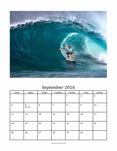 September 2016 Calendar Template Free Printable