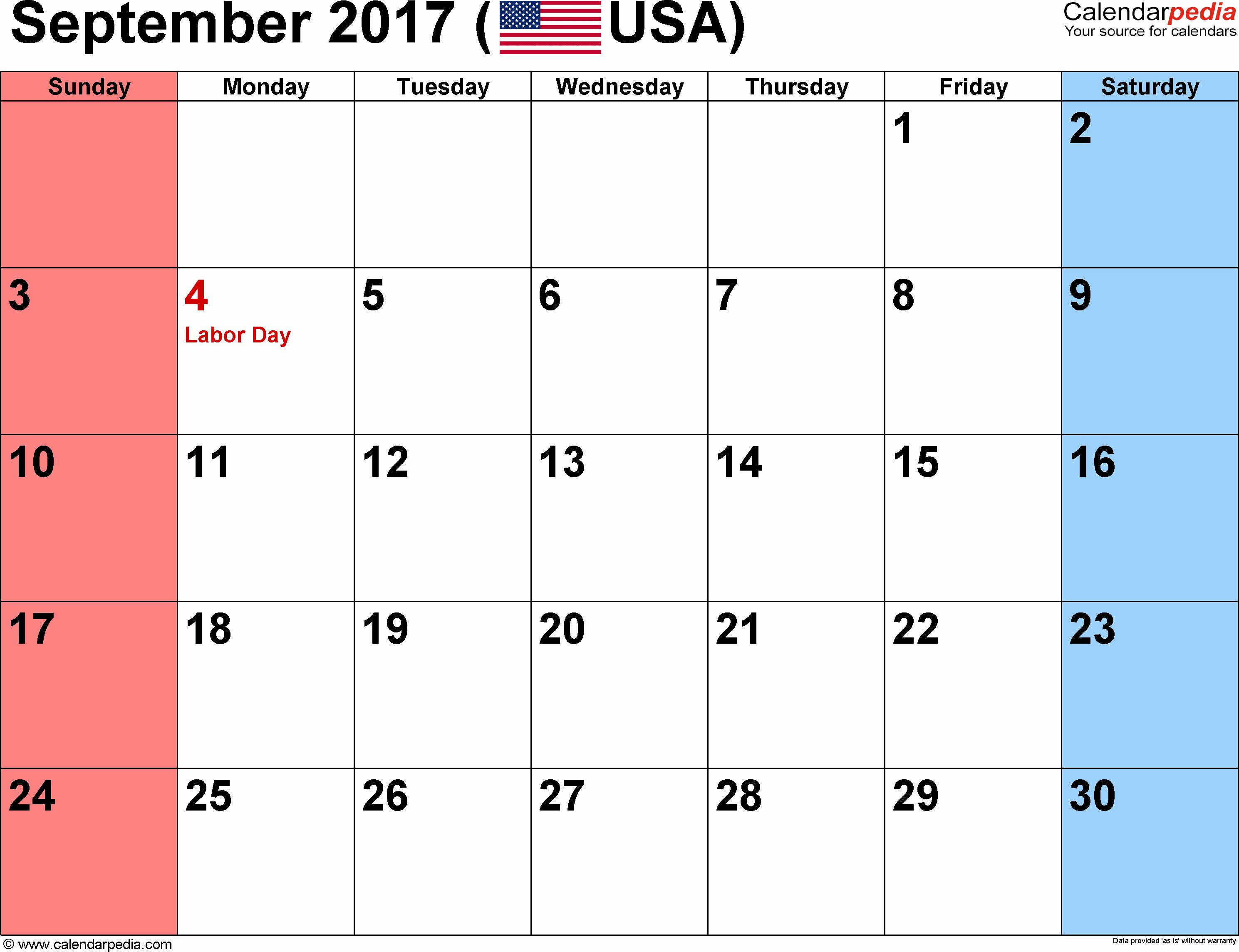 September 2017 Calendar Excel