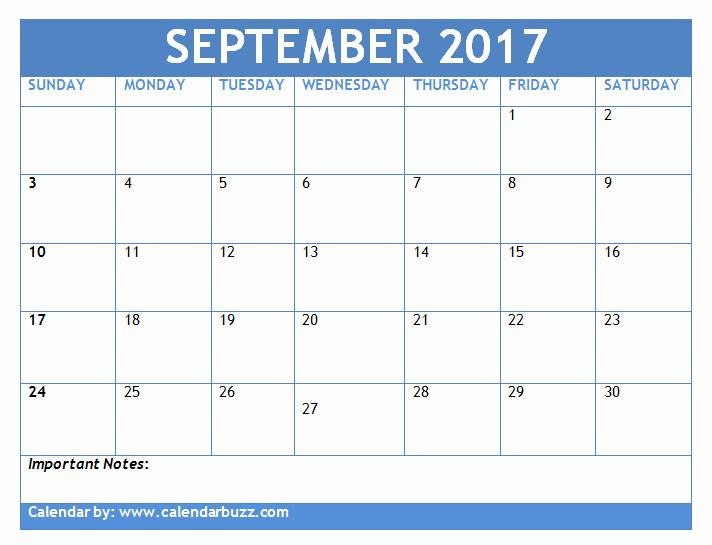 September 2017 Calendar Template Word Free Download