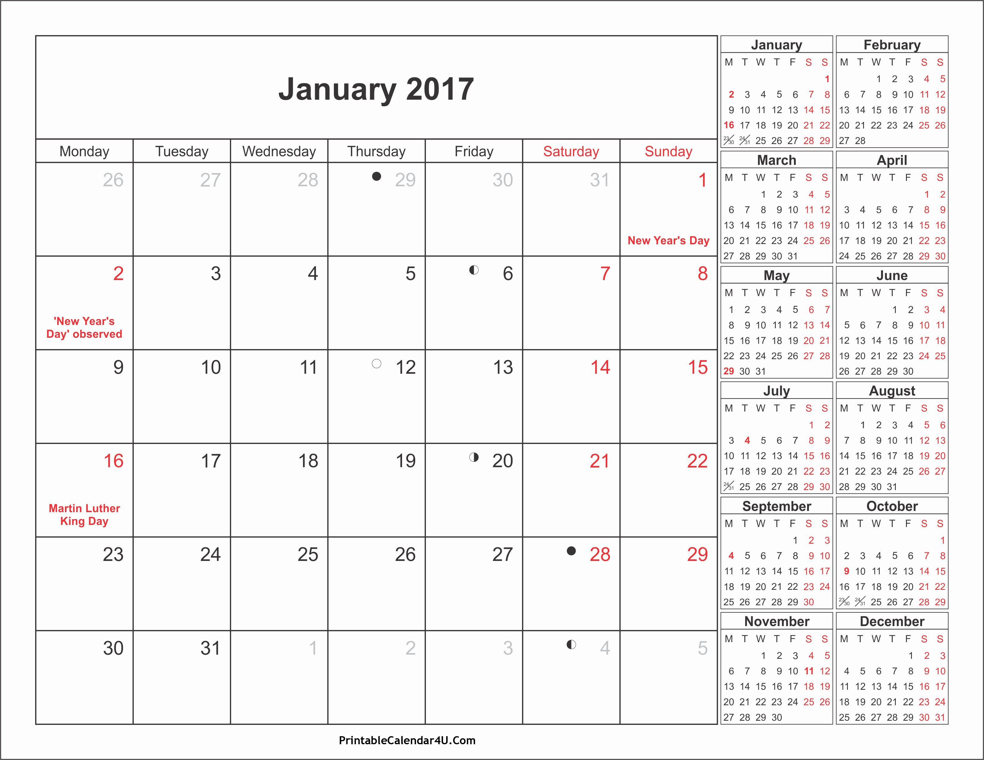 September 2017 Calendar Word