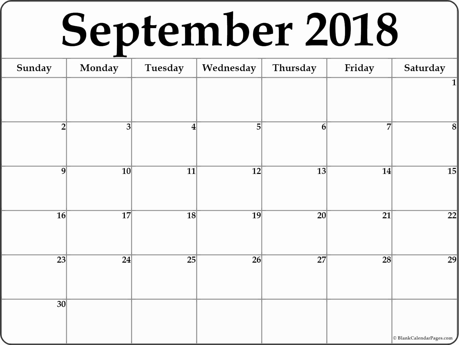 September 2018 Free Printable Blank Calendar Collection
